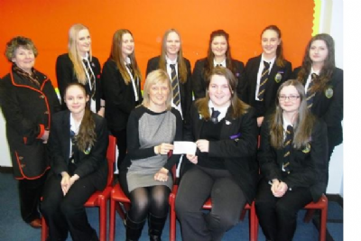 Kirkcaldy Rotary Interact Club at KHS presenting Angela Gourlay with a cheque for the Foodbank